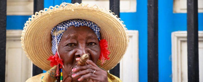 cuban old woman smoking cigar